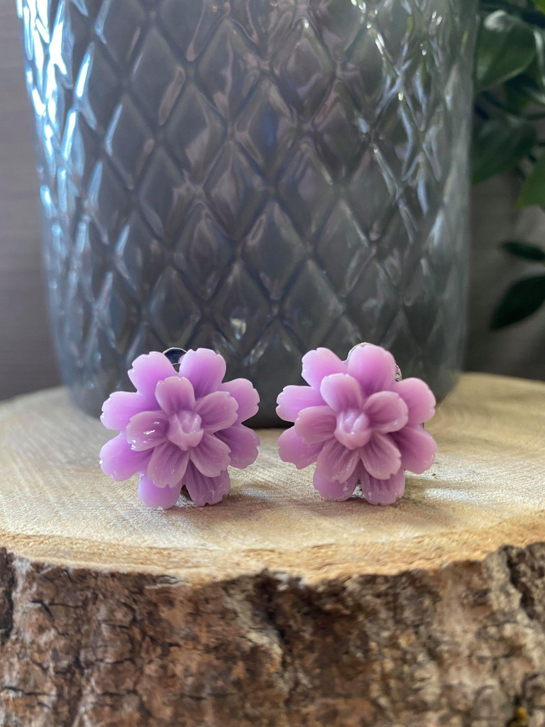 Handmade Resin Flower Earrings with Stainless Steel Clip On Back - Purple