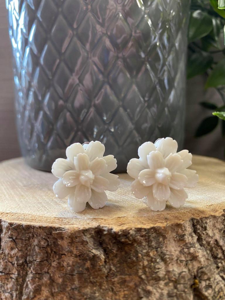 Handmade Resin Flower Earrings with Stainless Steel Clip On Back - White