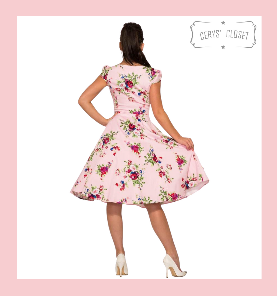 Pink Floral 50s Inspired Swing Dress with Cap Sleeves and Sweetheart Neckline - Darcey Pink