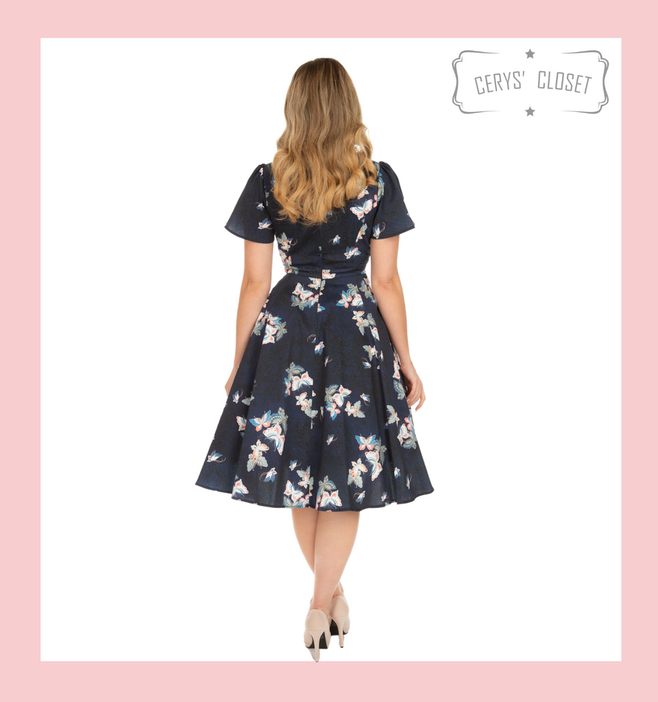 Navy Butterfly 50s Vintage Inspired Swing Tea Dress with Flutter Sleeves