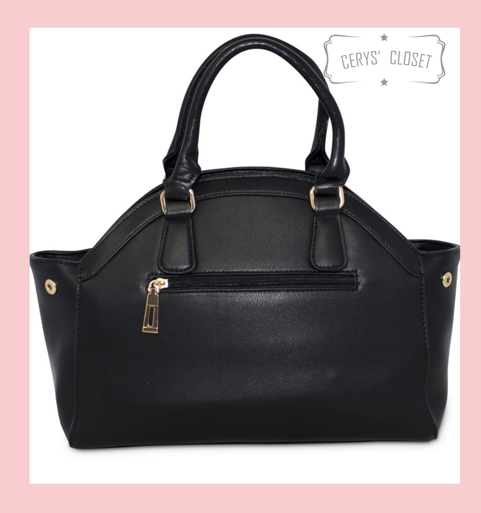 Black Tote Handbag with Large Rainbow Bow and Detachable Shoulder Strap at Cerys' Closet