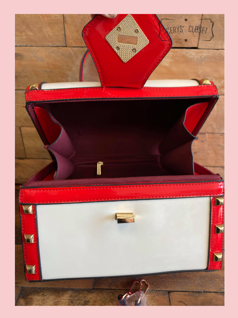 Red and Off White Patent Treasure Chest Shaped Handbag with Gold Studded Detail and Detachable Shoulder Strap at Cerys' Closet