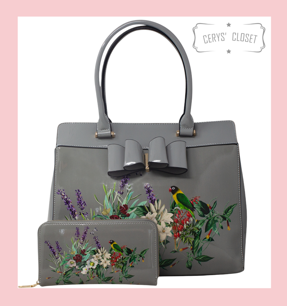 Double Handle Patent Handbag with Love Birds and floral scene and Patent Bow with detachable shoulder strap and matching Purse - Grey