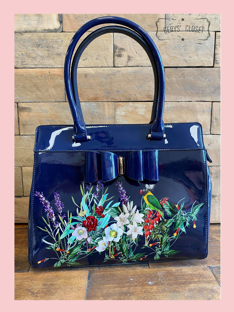 Double Handle Patent Handbag with Love Birds and floral scene and Patent Bow with detachable shoulder strap and matching Purse - Navy