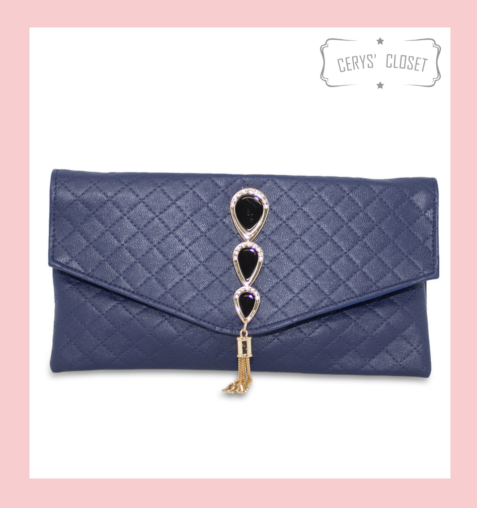 Quilted Clutch with Peacock Inspired Jewelled Art Deco Detail Gold Tassel and Shoulder Strap - Navy