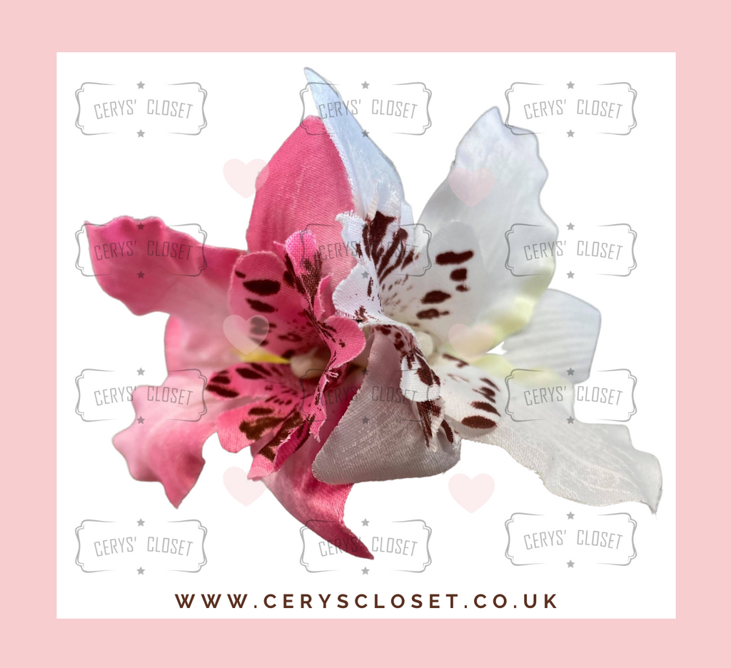 DOUBLE LILY HAIR FLOWERS WITH CROCODILE CLIP - Pink and White