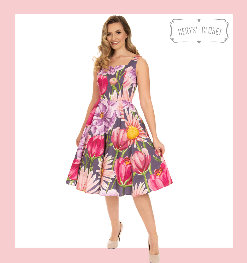 Hearts and Roses London Multi-Coloured 50s Inspired Summer Floral Sweetheart Neckline Dress - Denise at Cerys' Closet