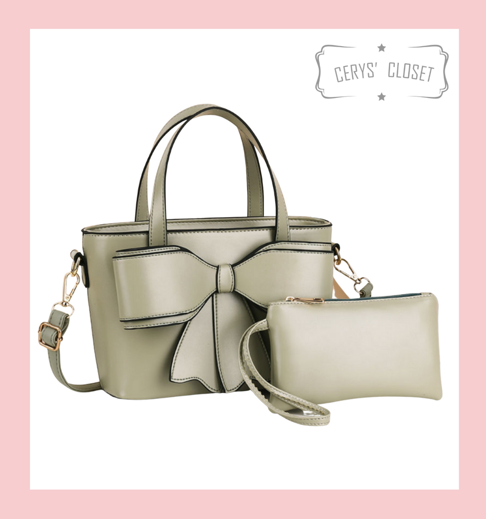 Double Handle Bow Tote with Detachable Shoulder Strap and Coin Purse - Pistachio Green