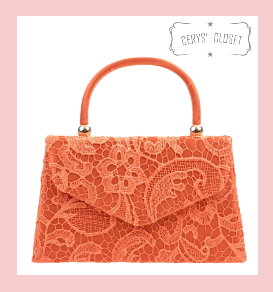 Lace Covered Envelope Tote Bag with Single Top Handle and Detachable Shoulder Chain - Coral