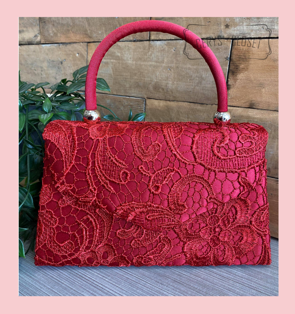 Lace Covered Envelope Tote Bag with Single Top Handle and Detachable Shoulder Chain - Burgundy