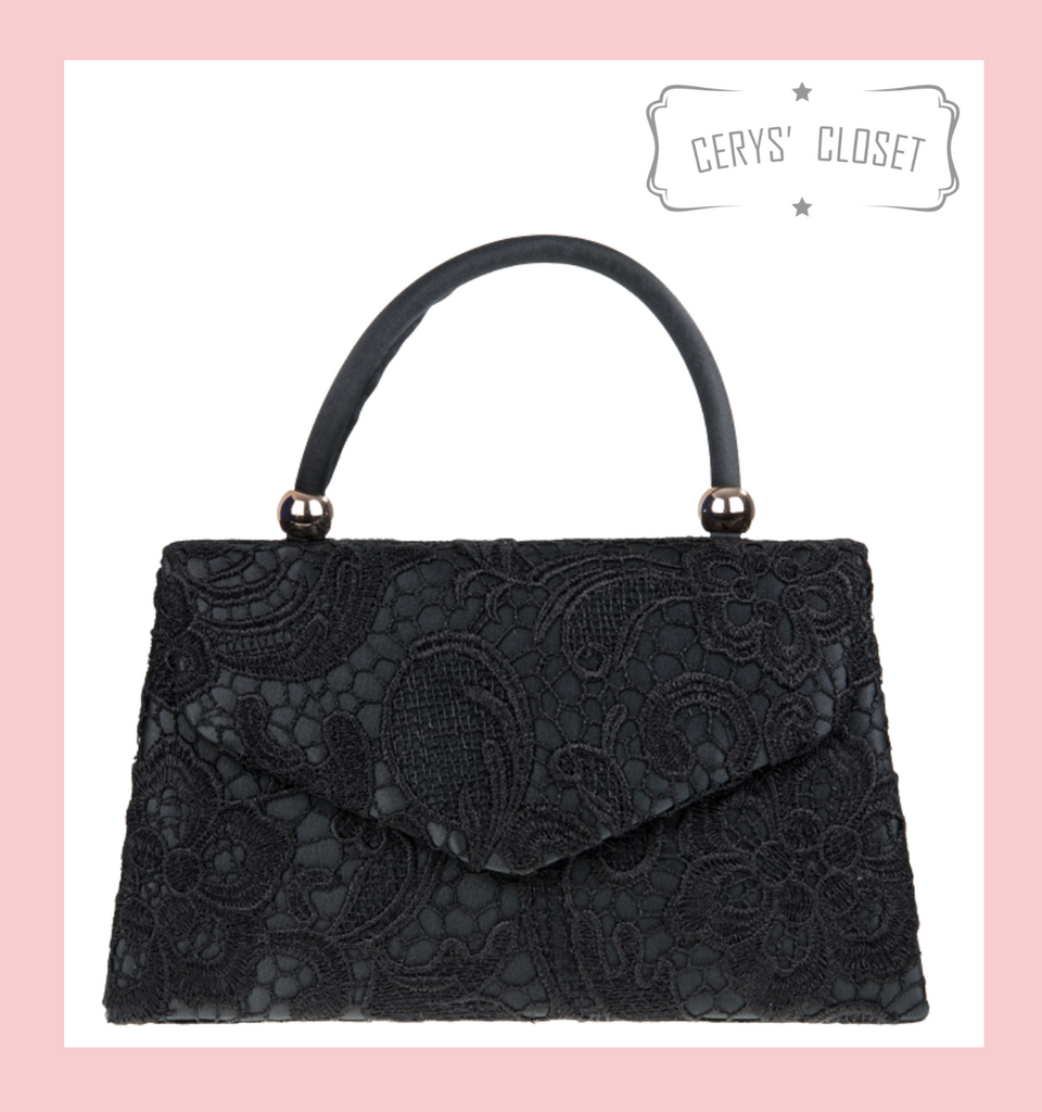 Lace Covered Envelope Tote Bag with Single Top Handle and Detachable Shoulder Chain - Black