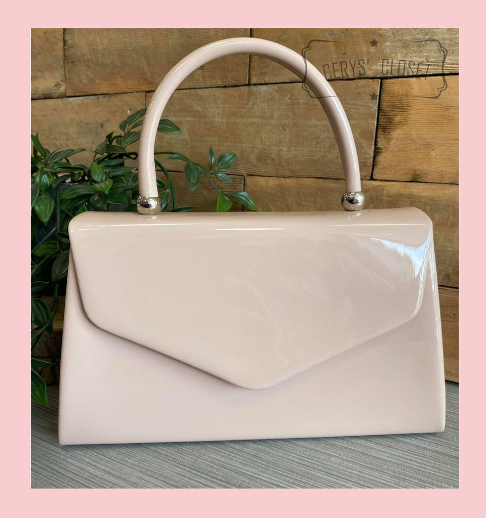 Patent Envelope Tote Bag with Single Top Handle and Detachable Shoulder Chain - Nude
