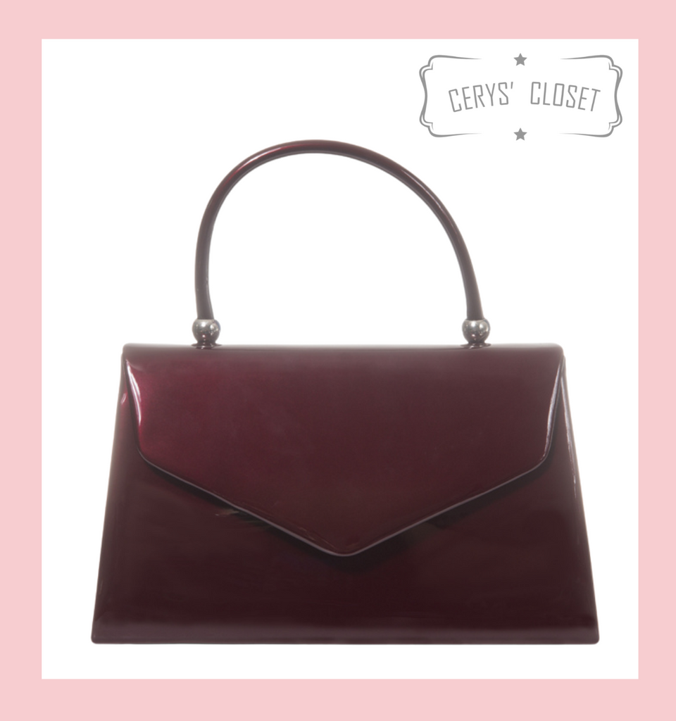 Patent Envelope Tote Bag with Single Top Handle and Detachable Shoulder Chain - Burgundy