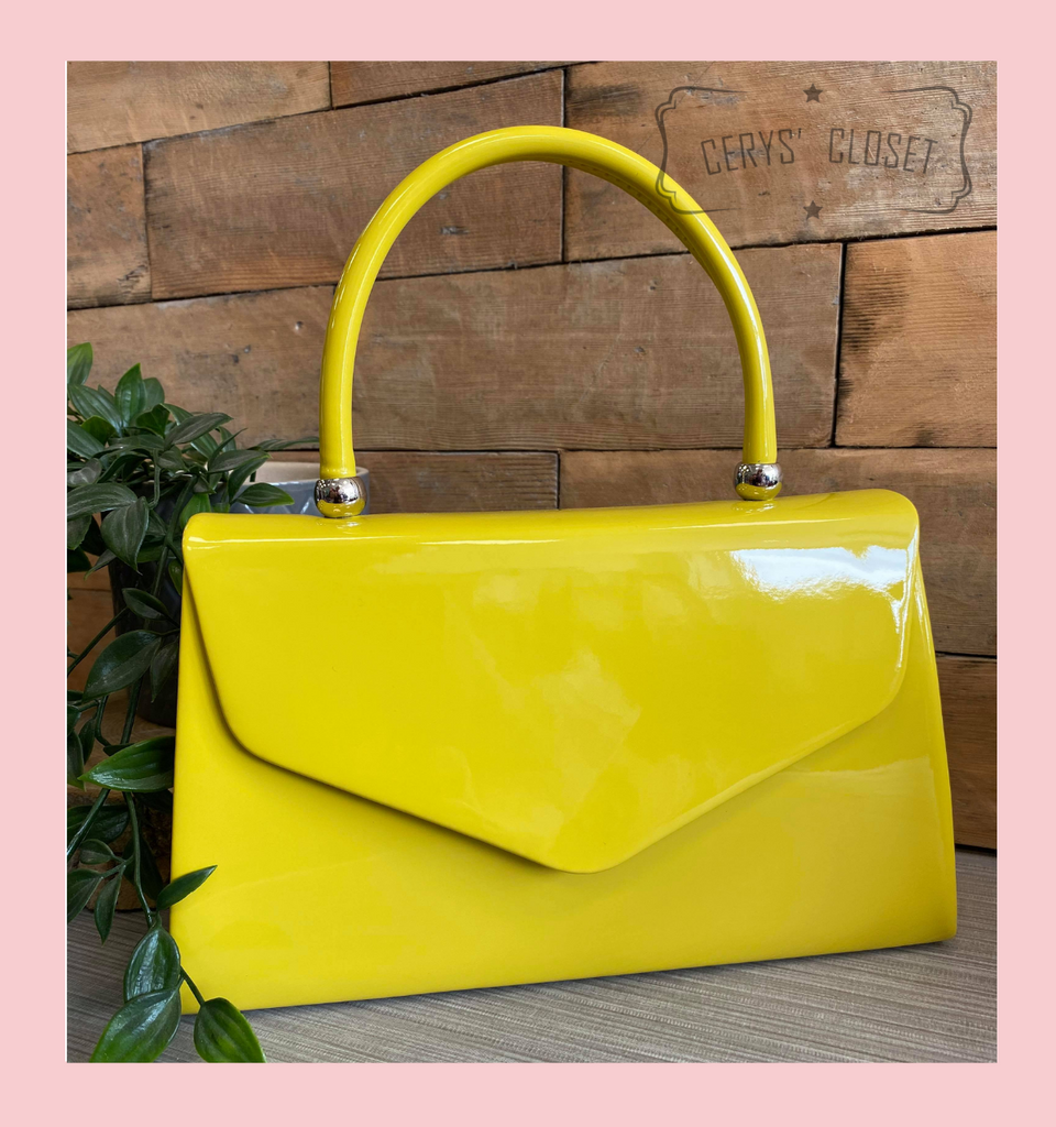 Patent Envelope Tote Bag with Single Top Handle and Detachable Shoulder Chain - Mustard