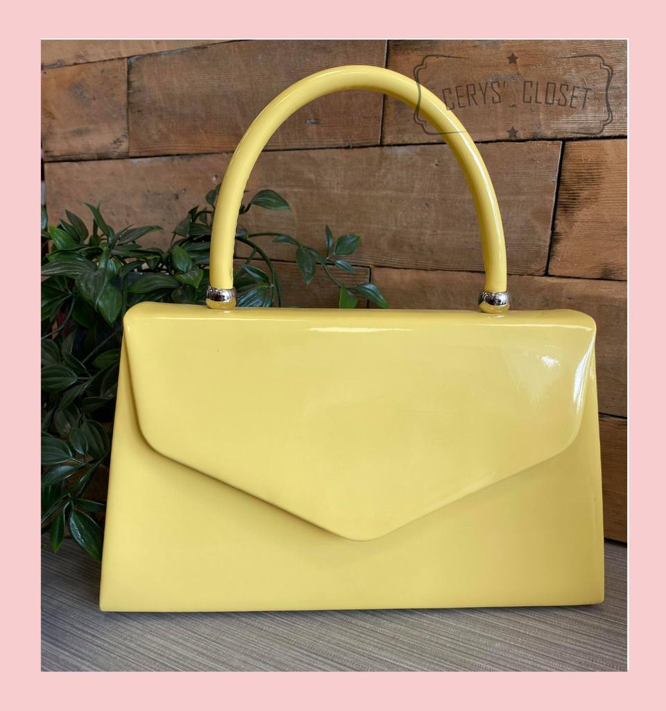 Patent Envelope Tote Bag with Single Top Handle and Detachable Shoulder Chain - Lemon