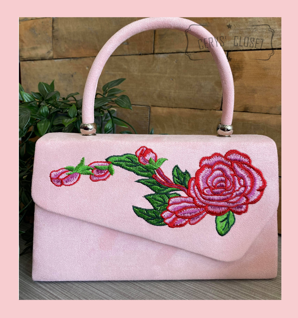 Suede Effect Envelope Tote Bag with Embroidered Rose, Top Handle and Detachable Shoulder Chain - Baby Pink