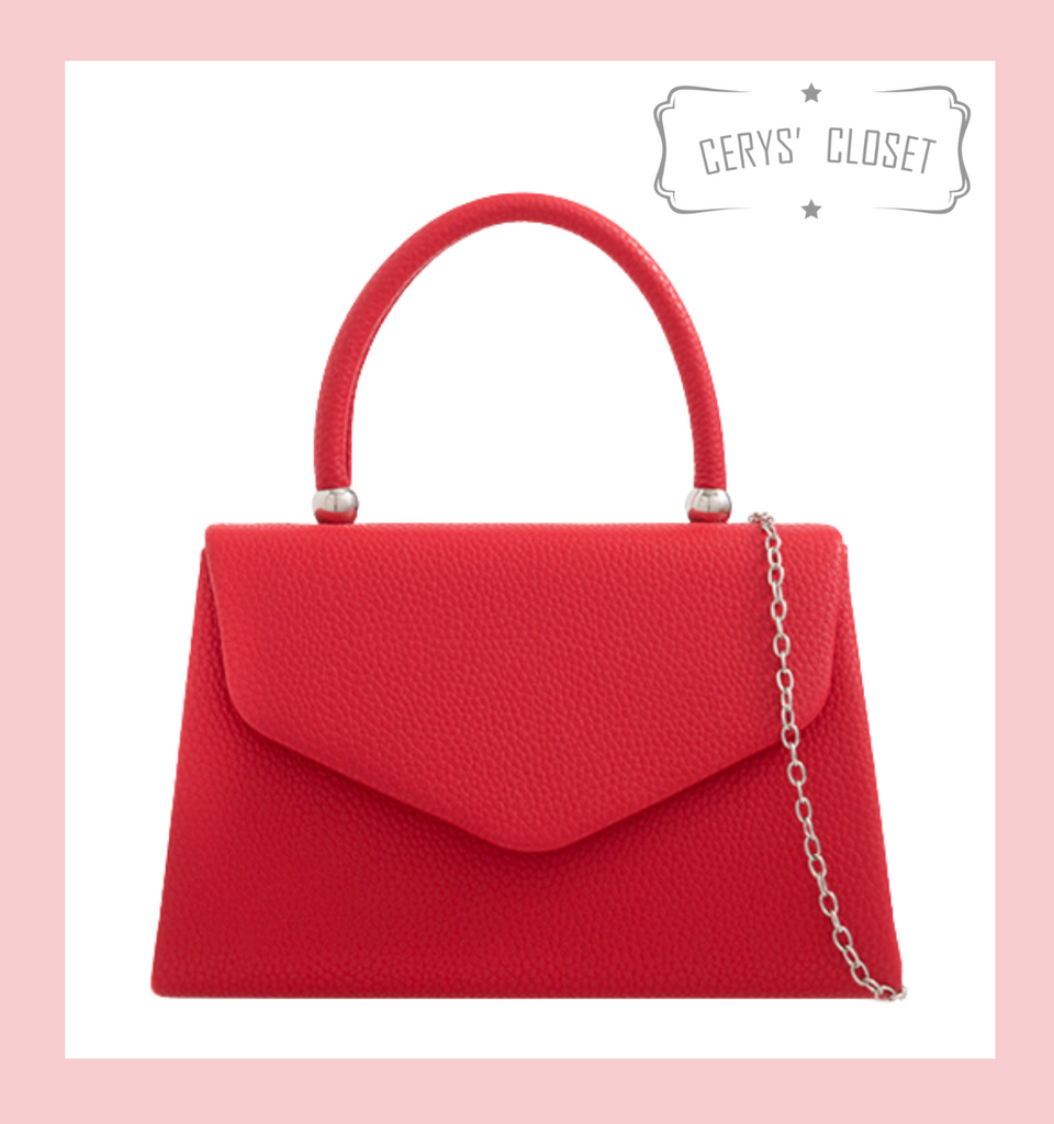 Leatherette Effect Envelope Tote Bag with Top Handle and Detachable Shoulder Chain - Red