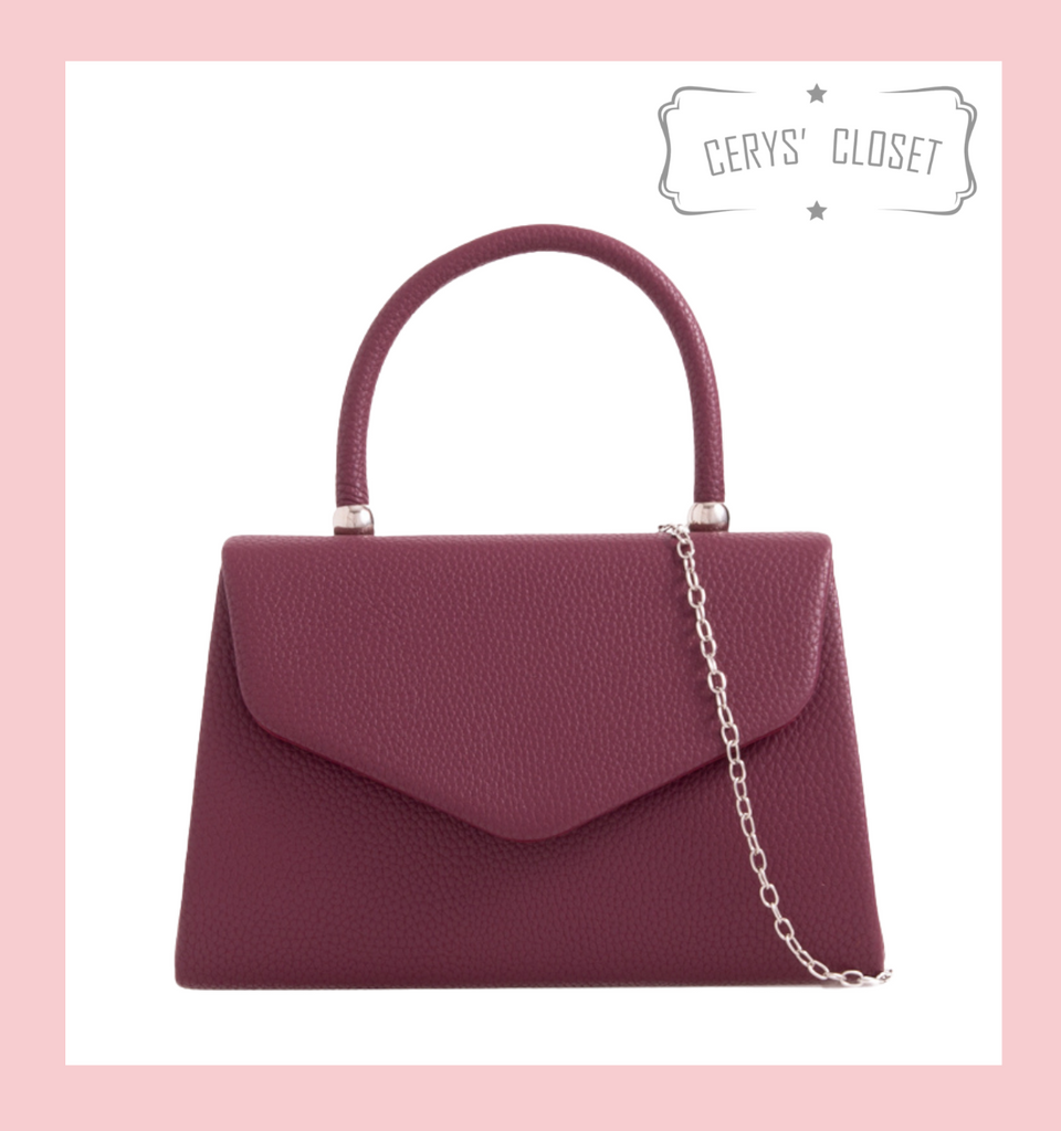 Leatherette Effect Envelope Tote Bag with Top Handle and Detachable Shoulder Chain - Burgundy