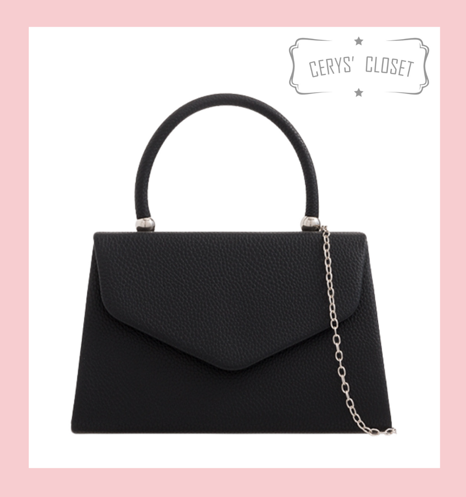 Leatherette Effect Envelope Tote Bag with Top Handle and Detachable Shoulder Chain - Black