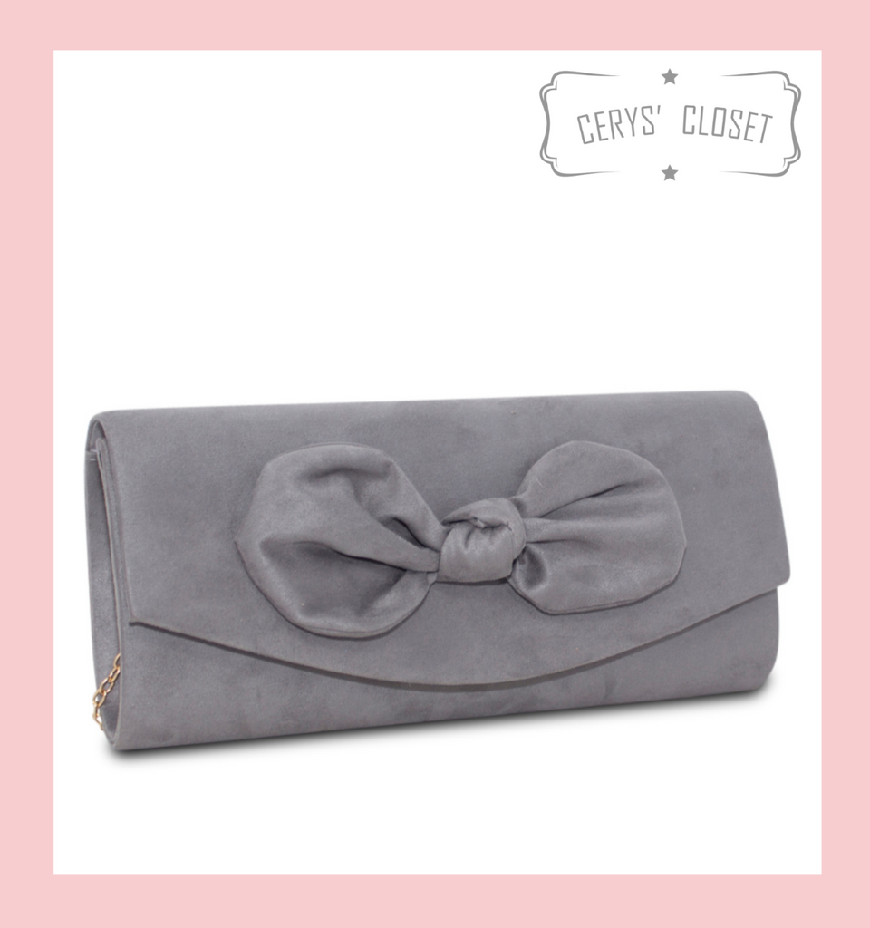 Suede Effect Bow Clutch Bag with Detachable Shoulder Chain - Grey