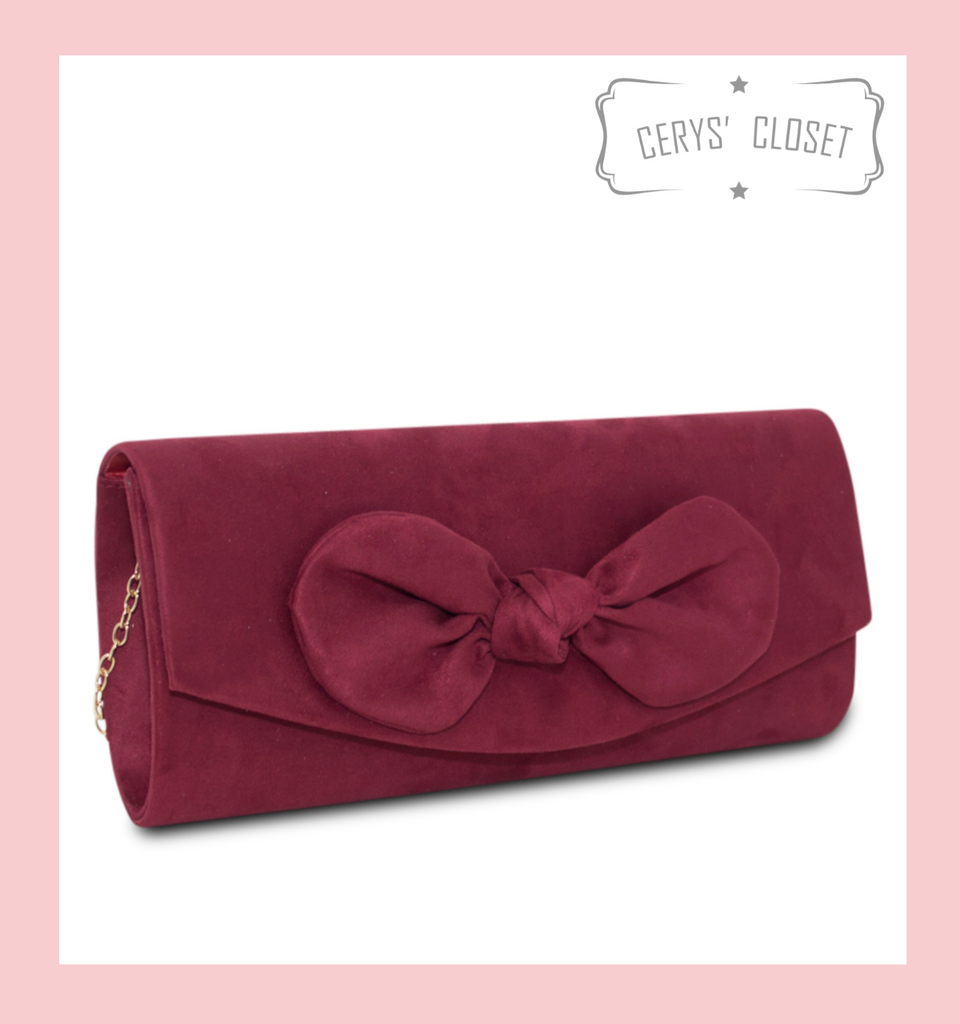Suede Effect Bow Clutch Bag with Detachable Shoulder Chain - Burgundy