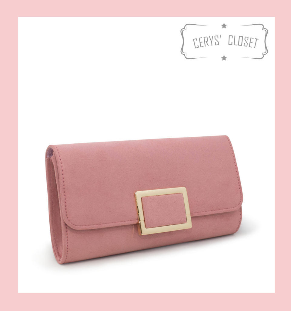 Suede Effect Clutch Bag With Gold Buckle Detail and Detachable Shoulder Chain - Pink