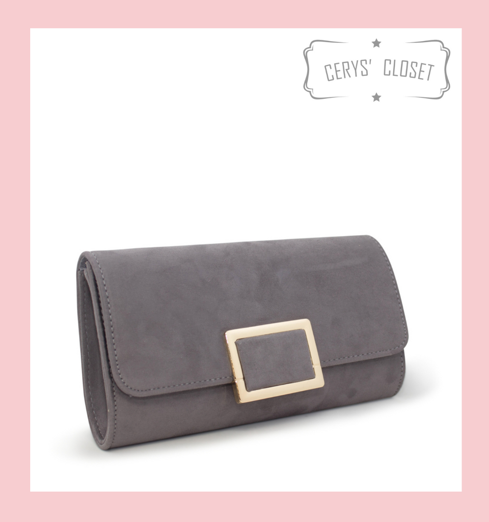 Suede Effect Clutch Bag With Gold Buckle Detail and Detachable Shoulder Chain - Grey
