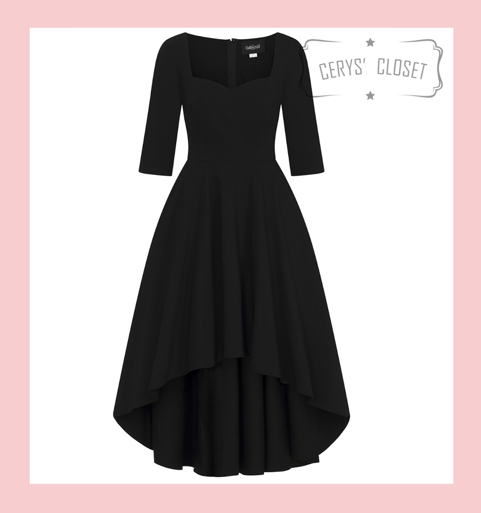Collectif Lydia Dip Hem Black Dress with Sweet Heart Neckline and Mid Length Sleeve
