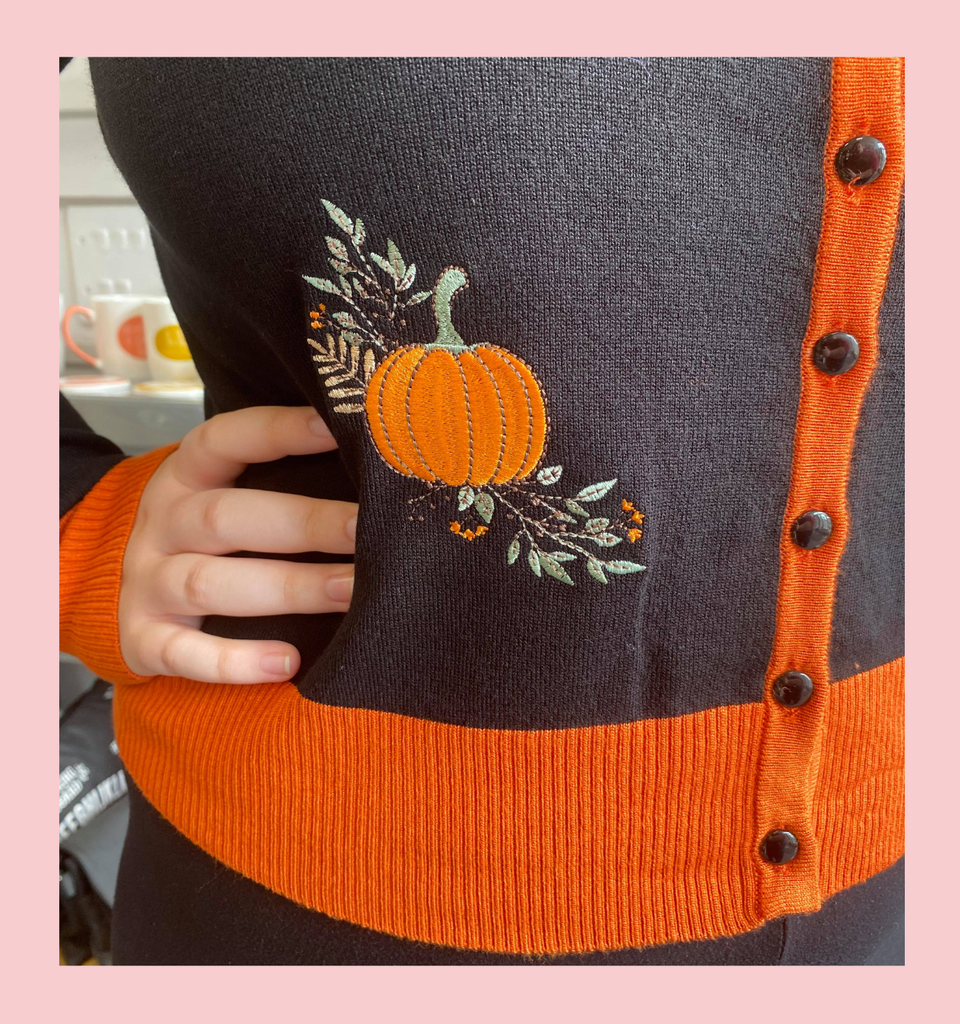 PUMPKIN SPICE & ALL THINGS NICE ORANGE AND BLACK EMBROIDERED CARDIGAN