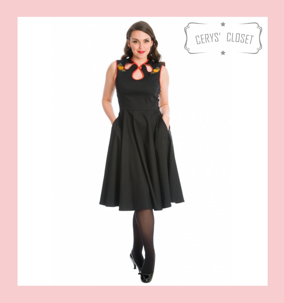 PUMPKIN SPICE & ALL THINGS NICE BLACK AND ORANGE DRESS WITH EMBROIDERED PUMPKINS