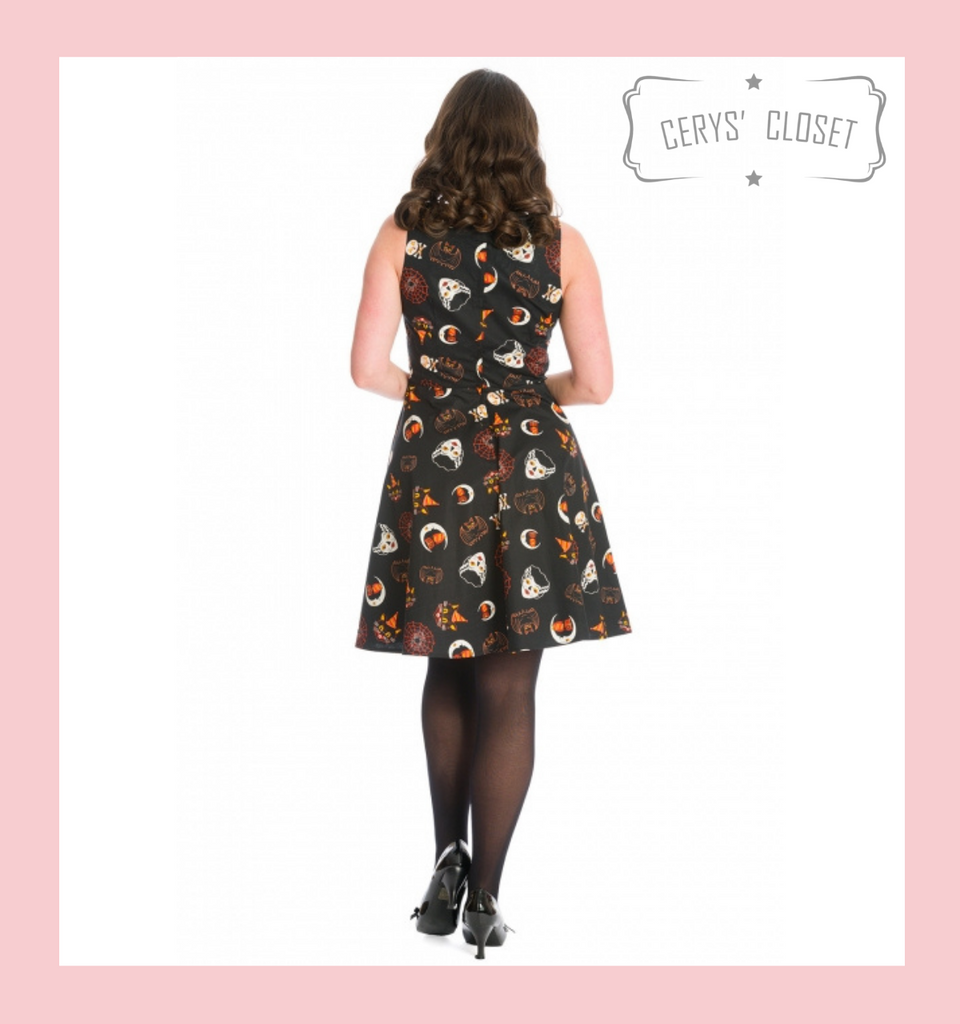 50s Vintage Inspired Salem Halloween Rockabilly Swing Dress with Sweetheart Neckline