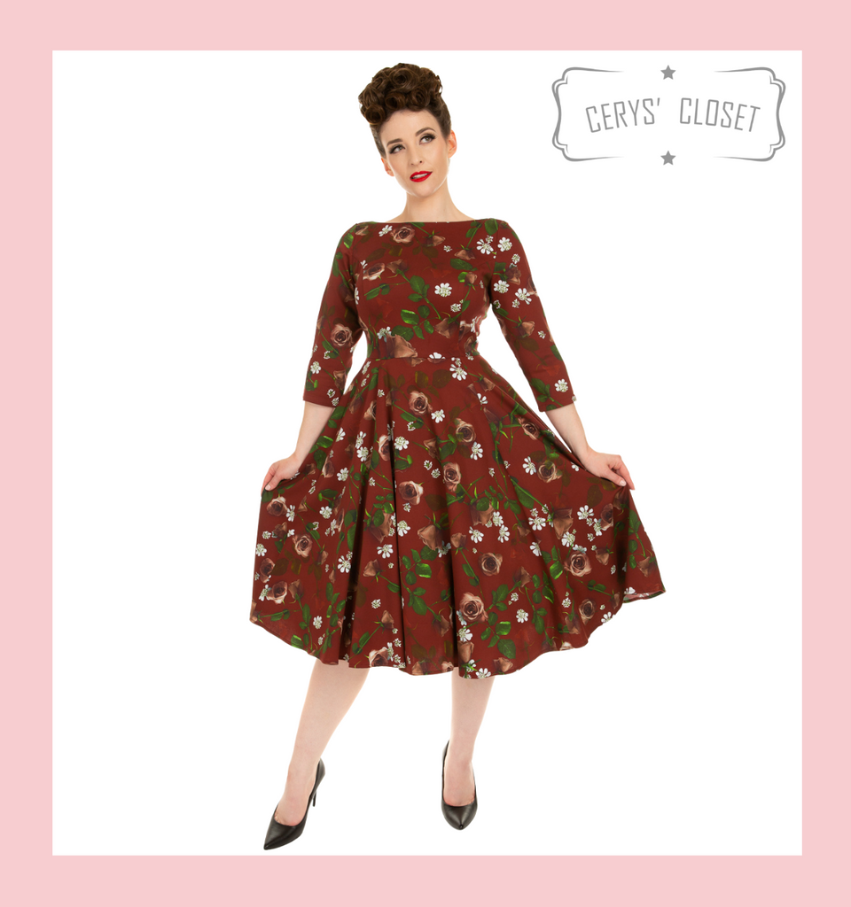 Burgundy Floral 50s Inspired Swing Dress With 3/4 Sleeves and Boat Neckline