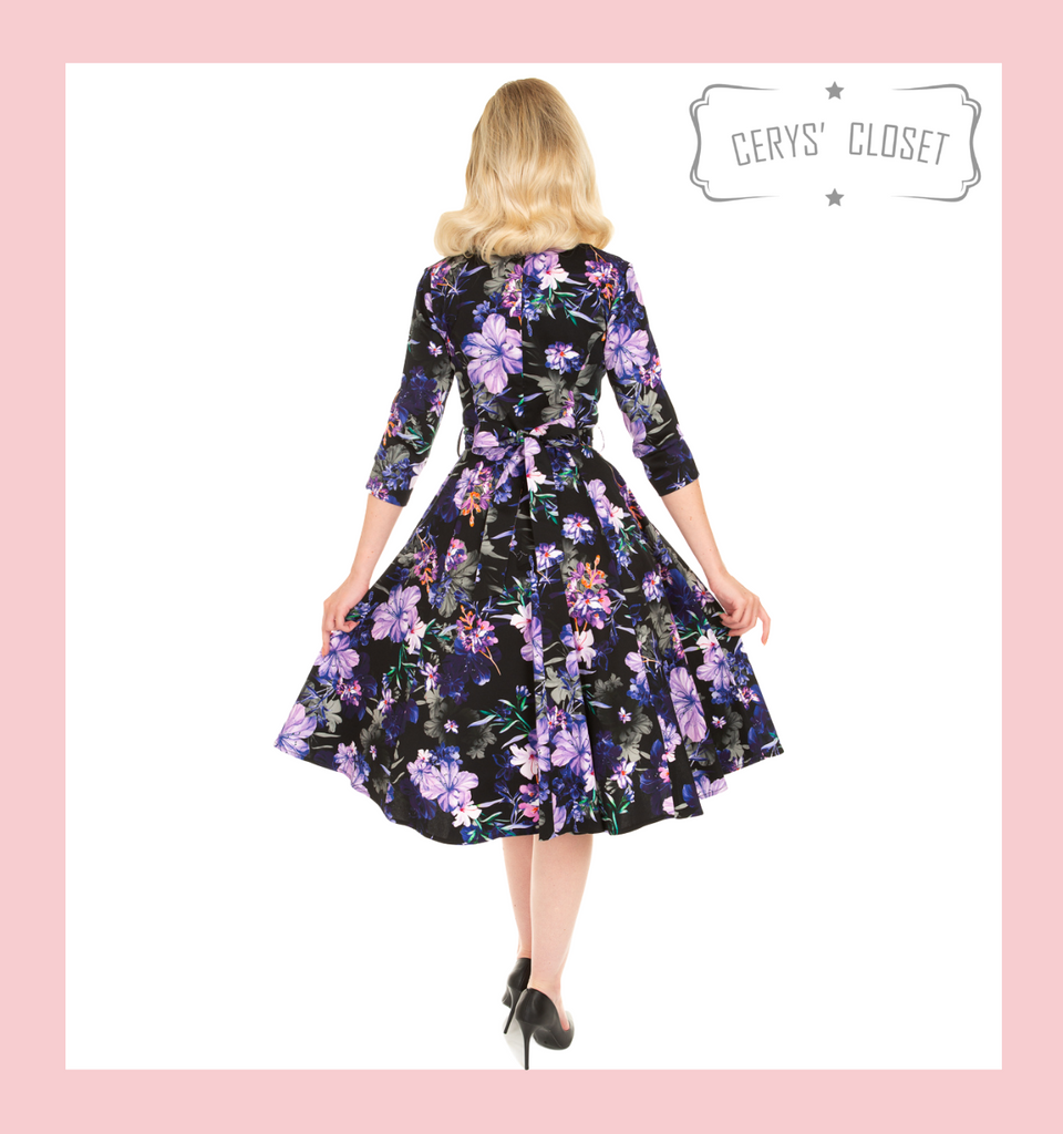Purple Floral 50s Inspired Swing Dress With 3/4 Sleeves and Sweetheart Neckline