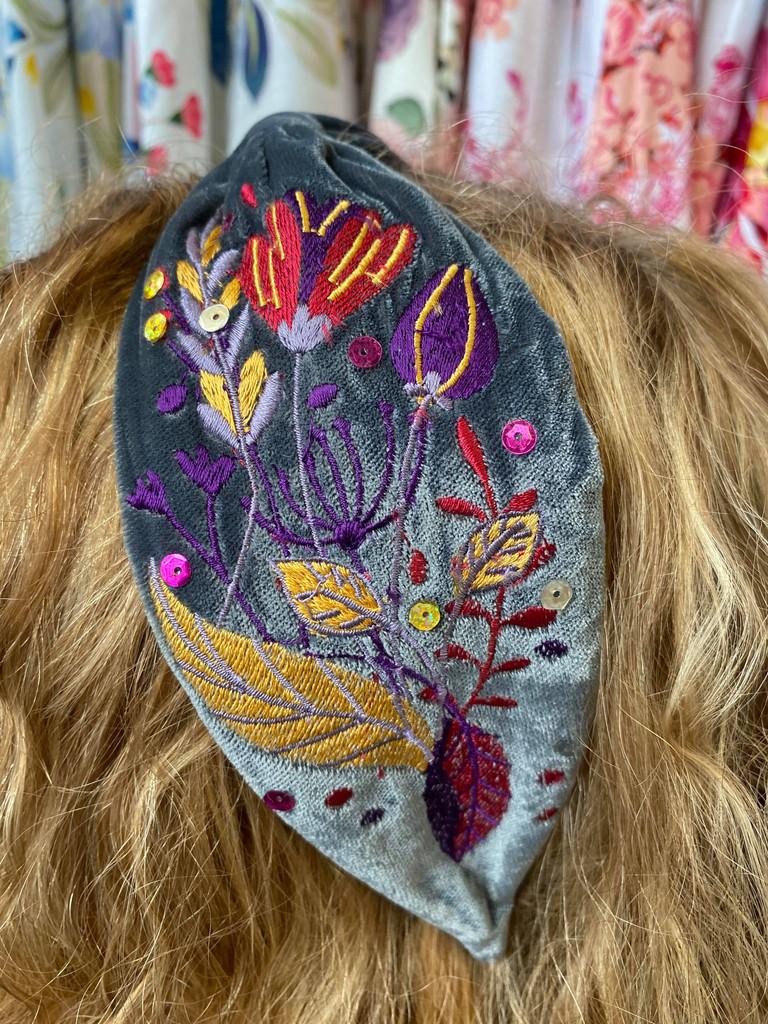 Hand Finished Velvet Embroidered Blue Grey Floral and Foliage Hairband by Powder