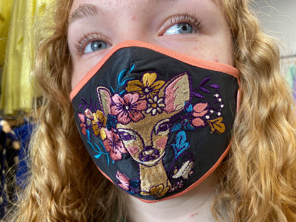 Beautiful Embroidered Face Covering - Floral Doe
