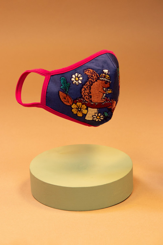 Product - Beautiful Embroidered Face Covering - Squirrel Nutkins