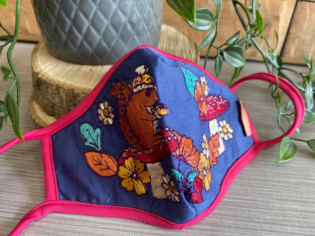 Beautiful Embroidered Face Covering - Squirrel Nutkins
