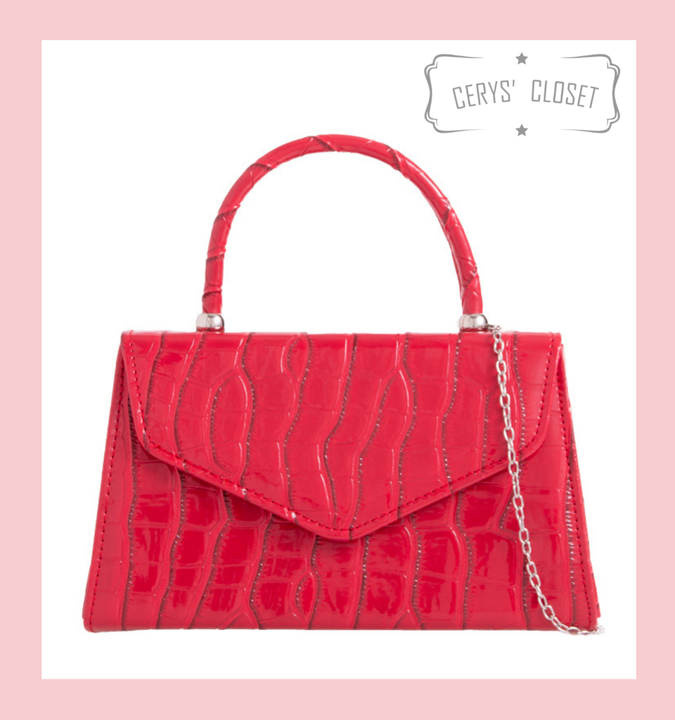 Crocodile Effect Envelope Tote Bag with Top Handle and Detachable Shoulder Chain - Hot Pink