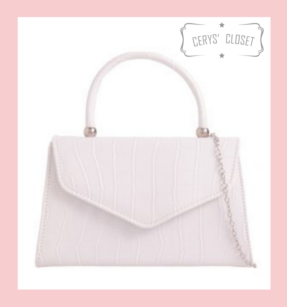 Crocodile Effect Envelope Tote Bag with Top Handle and Detachable Shoulder Chain - White