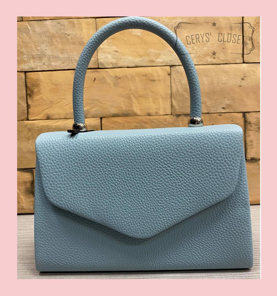 Leatherette Effect Envelope Tote Bag with Top Handle and Detachable Shoulder Chain - Pale Blue