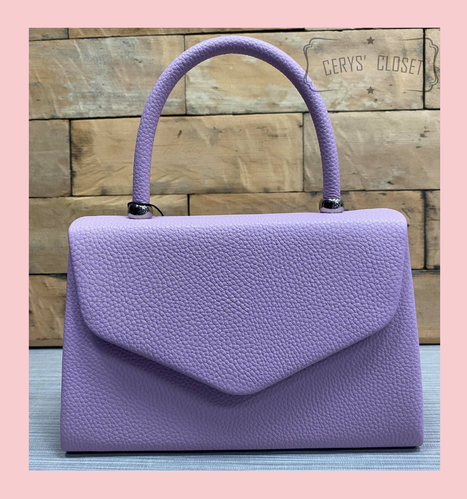 Leatherette Effect Envelope Tote Bag with Top Handle and Detachable Shoulder Chain - Lavender