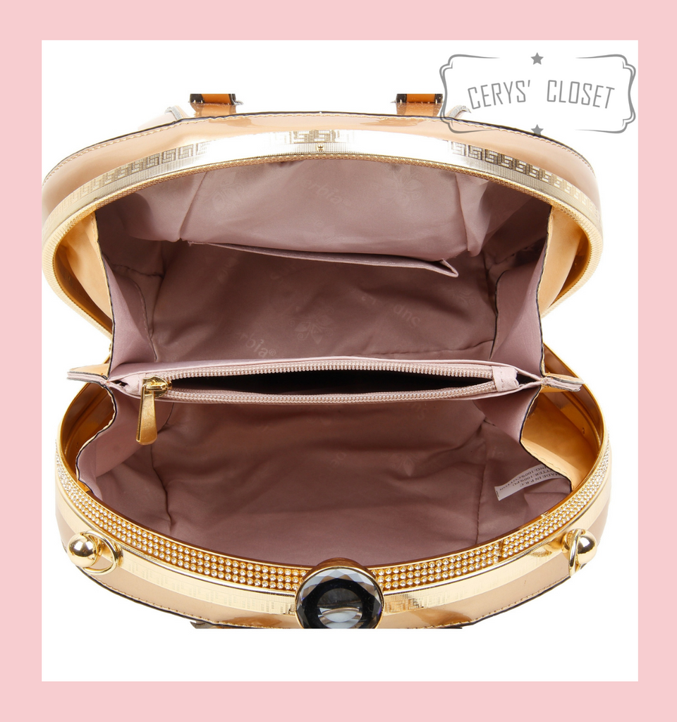 40S AND 50S CLASSIC PINUP ROCKABILLY VINTAGE INSPIRED PATENT ROUND HANDBAG WITH 2 TOP HANDLES AND A DETACHABLE SHOULDER STRAP - CHAMPAGNE