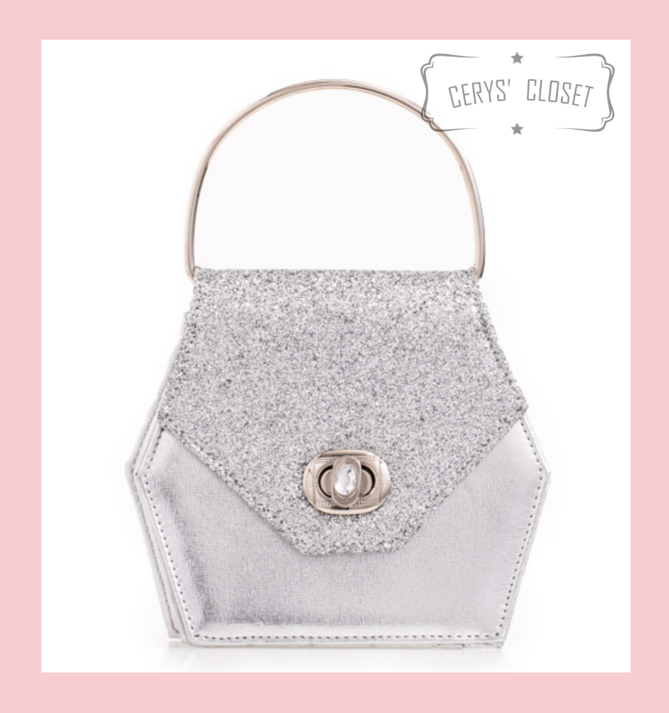 Hexagonal Glitter Handbag with Jewelled Clasp and Metal Ring Handle and Detachable Shoulder Strap - Silver