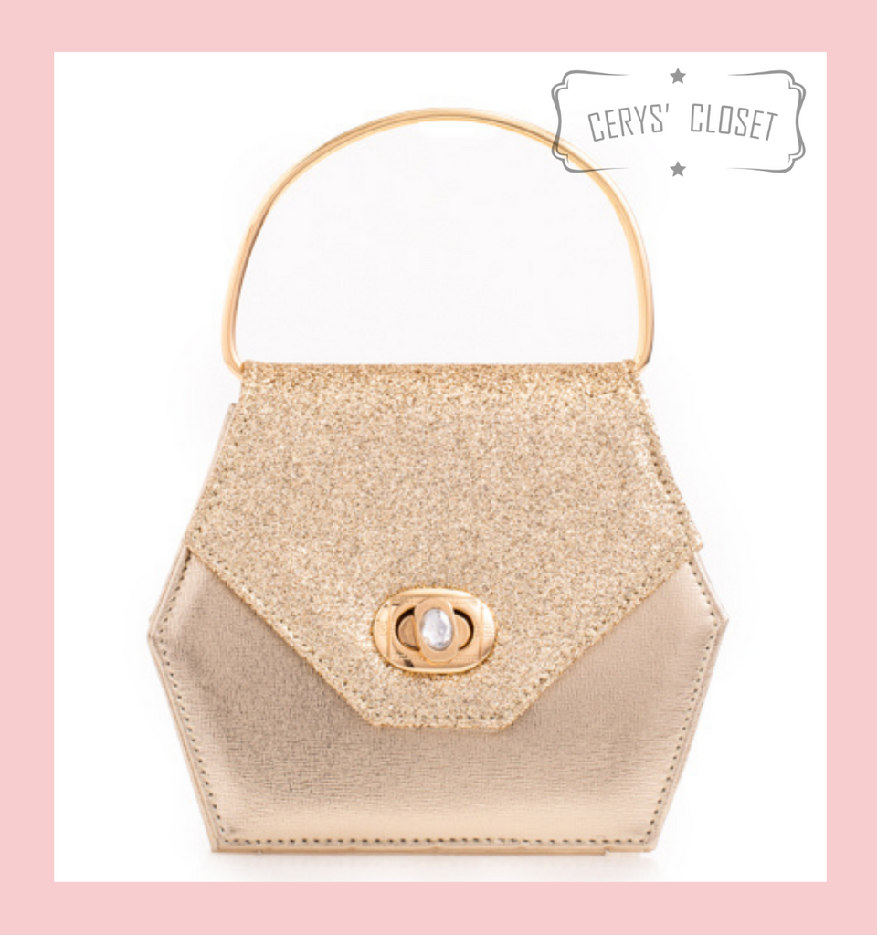 Hexagonal Glitter Handbag with Jewelled Clasp and Metal Ring Handle and Detachable Shoulder Strap - Gold