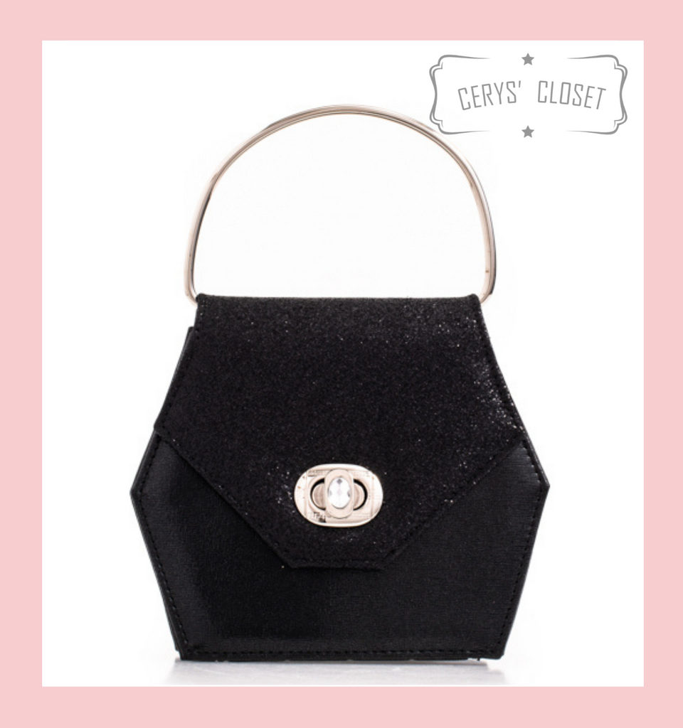 Hexagonal Glitter Handbag with Jewelled Clasp and Metal Ring Handle and Detachable Shoulder Strap - Black