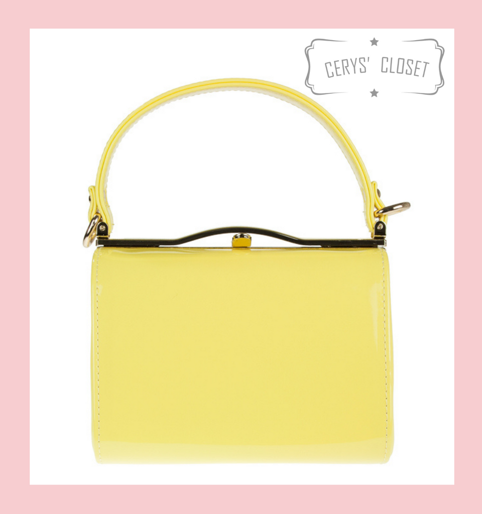 40S AND 50S CLASSIC PINUP ROCKABILLY VINTAGE INSPIRED SHINY PATENT BOX STYLE HANDBAG CHARTREUSSE LEMON - MIDGE