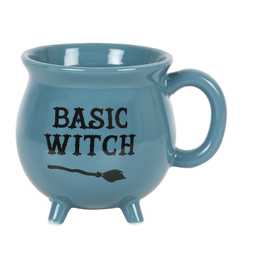 'Basic Witch' Ceramic Blue Cauldron Mug with Cute Feet