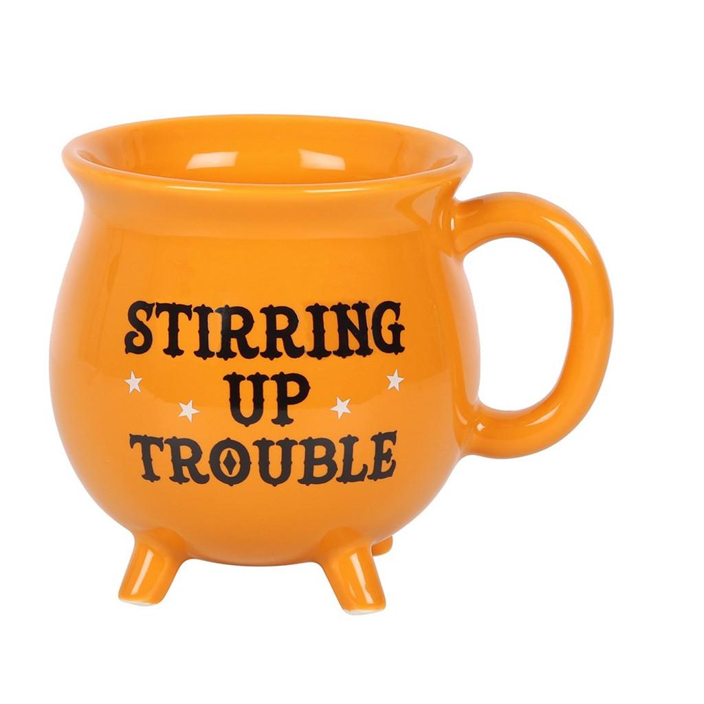 'Stirring Up Trouble' Ceramic Green Cauldron Mug with Cute Feet