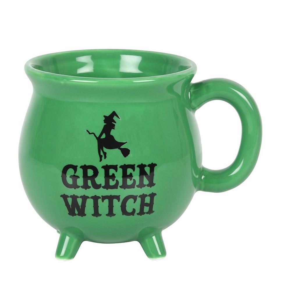 'Green Witch' Ceramic Green Cauldron Mug with Cute Feet