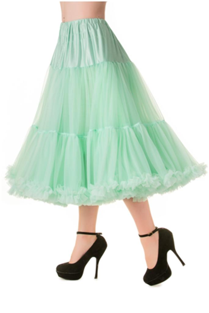 """50s Vintage Rock n Roll Rockabilly Petticoat Skirt 26"""" Mint Green"""